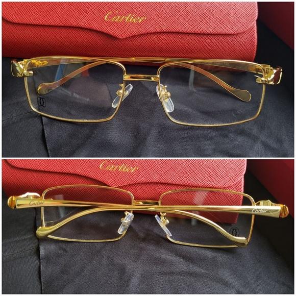c0e0207e89594 Cartier gold panther frame glasses